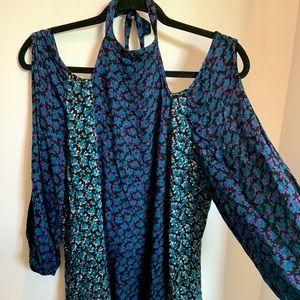 70's style blue cold shoulder halter tunic dress